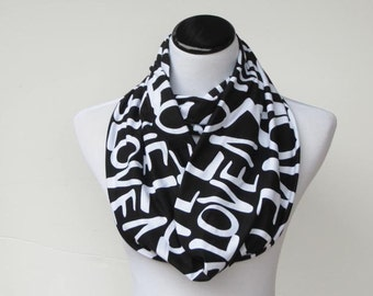 Valentine's day infinity scarf love letters scarf circle scarf loop scarf black white scarf Valentine's day gift for women and teen girls
