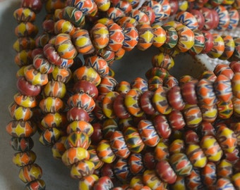 Lampwork Beads,Milleflori Glass Bead, Rondelle,Multi Color,Rustic,Lampwork,India,Tribal Beads,Trade,7-8mm SizeVaries,1mm Hole, One Strand