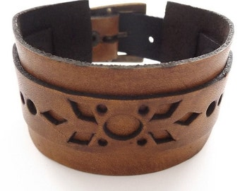 Brown Hand Made Wide Leather Cuff With Buckle and Stamped Design
