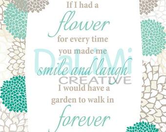 8 x 10 True Friends Art Print - Friends Wall Art - Friends Wall Decor - Flower Digital Print!