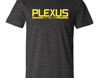 New PLEXUS Live Healthy Ambassador Dark Heather Grey T-shirt Shirt with Yellow Print