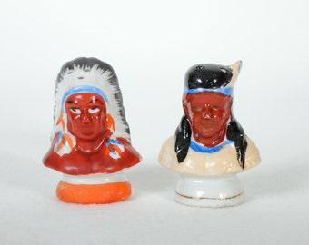 Vintage Native American Indian Salt & Pepper Shakers
