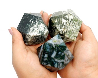 Green Moss Agate Cuboctahedron - Reiki - Metaphysical -  (RK111B9)