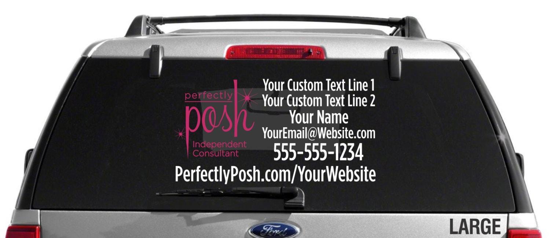 SALE Perfectly Posh Logo Custom Vehicle Decal Dual Color - Custom car window decals metal