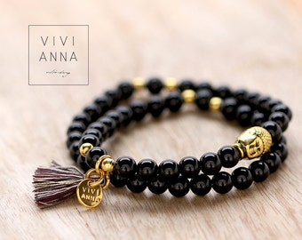 Buddha Life II -  Black agate bracelet - A095
