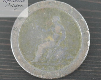 Antique 18thC British Imperial 1797 George III Cartwheel Penny coin gift