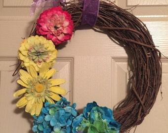 Spring/Summer Twig Wreath with Colorful Felt Flowers 14 inches