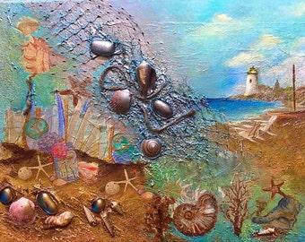 Seascape 3D Mixed Media Collage Nautical Nostalgia acrylic textured collage Viktoriya Sirris seashell  collage nautical gift