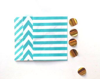 24 Aqua Mint Paper Bags Party Goodies Sweets in 3 designs with gold stickers