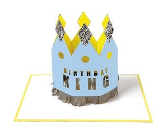 Birthday king Greeting card with wearable crown