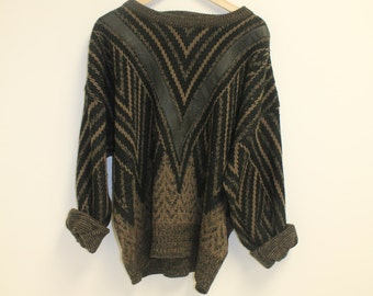 knit and leather sweater