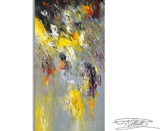 """Large Abstract Painting 63.0 """" x 31.5 """" Original XL Acrylic Yellow, Black, White, Anthracite."""