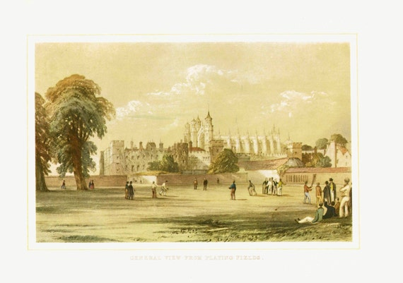 Large vintage 1962 print of 19th century cricket match at Eton College, England, lovely details, print of lithograph by C W Radclyffe