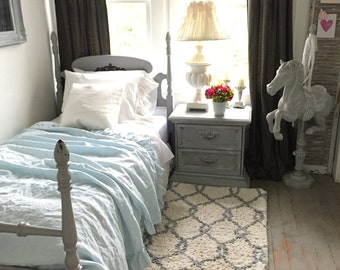 Twin Size Bed Frame French Provincial Shabby Cottage Chic Gray Girls Room Chalk Paint Furniture