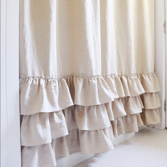 Belgian Linen Ruffle Shower Curtain Cotton Handmade Shabby