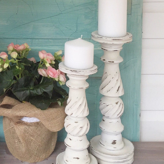 French White Candle Holders Shabby Chic Wedding Table