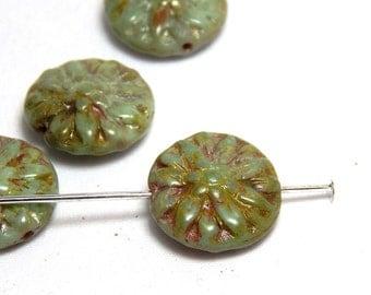5 Turquoise Dahlia Beads, Carved Beads, Flower Beads, Rustic Focal Beads, Dahlia Beads, Turquoise Beads, Czech Beads, Boho Beads, T-88E