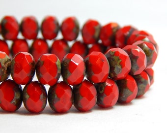 8x6mm Bright Red Czech Beads, Red Beads, Bright Red Beads, Coral Red, Red Czech Rondelles, Red Rondelles, 8mm Red Beads, T-75E