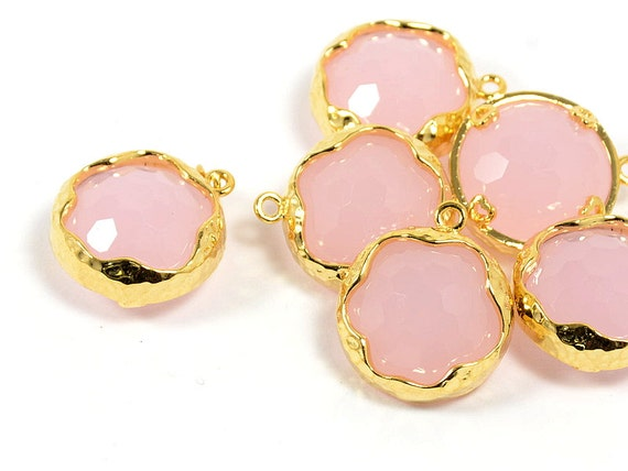 Pink Glass Pendant, Round  Pink Pendant, Baby Pink Color with Hammered Finished Frame in Anti-tarnish Gold Plating  - 2 pcs/ order