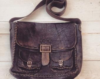 BOHO mens vintage leather bag, handmade bag, 70's leather bag , hippie leather purse
