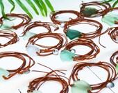 Boho Sea Glass & Leather Wrap Bracelet