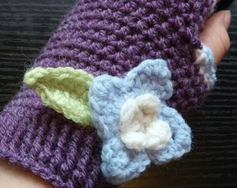 Crochet Fingerless Floral Mittens in Purple