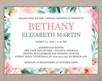 Bridal Shower, Tropical, Summer, Spring, Luncheon, Brunch, Colorful, Event, Wedding, Party, Coordinate, DIY, 5x7, Printable Invitation