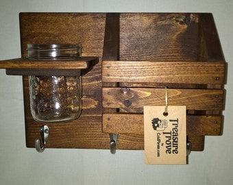 Wall Organizer - Key Hanger, Mail Holder, Mason Jar - Entryway Storage Decor - Stained Early American
