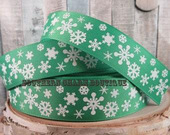 "3 yards of 1"" christmas snowflake (green) grosgrain ribbon"