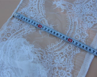 Alencon Lace,Chantilly corded Lace, off white Lace Fabric,wedding lace for Veil, Dress, Costume, Craft Making-lsm3lc017