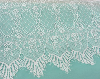white chantilly Lace fabric-3meters, Wedding lace, black chantilly lace fabric, flower pattern, french