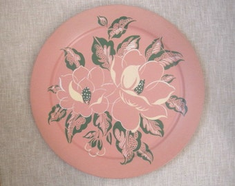 """Tropical Flower 19"""" Metal Serving Tray by Social Supper Pink Hibiscus Flowers Green Leaves Tropics Hawaii Luau Mid Century Kitsch USA"""