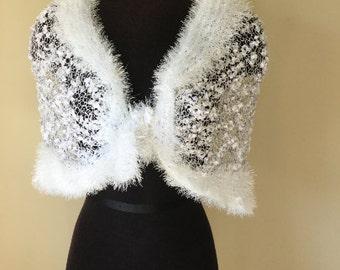 SALE %50 off.Knitted wedding shawl. bridesmaids shawl.Super soft white shawl.