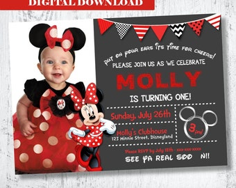 Red Minnie Mouse Photo Invitation.Minnie Mouse Birthday Invitation.Red Minnie Mouse Invitation.Red Minnie Mouse Invitation. Red Black White