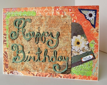 Birthday card.  Hand made embroidered card. Happy Birthday