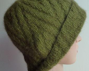 Versatile & Trendy Winter Warmth - Possum Blend Cloche Hat - Moss Green