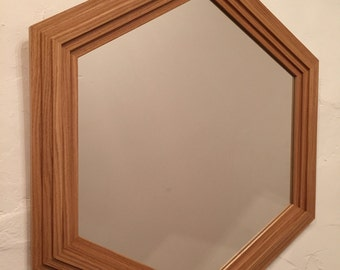 Hexagonal Oak Mirror.