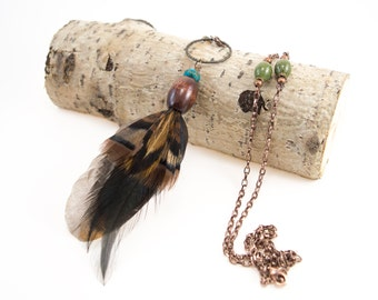 Real feather necklace - Boho feather jewelry - Cruelty free real feather pendant necklace