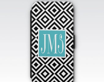 Wallet Case for iPhone 8 Plus, iPhone 8, iPhone 7 Plus, iPhone 7, iPhone 6, iPhone 6s, iPhone 5/5s - Black and White Geometric Monogram Case