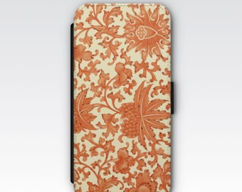 Wallet Case for iPhone 8 Plus, iPhone 8, iPhone 7 Plus, iPhone 7, iPhone 6, iPhone 6s, iPhone 5/5s - Vintage Chinese Orange Floral