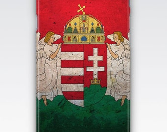 Case for iPhone 8, iPhone 6s,  iPhone 6 Plus,  iPhone 5s,  iPhone SE,  iPhone 5c,  iPhone 7  - Vintage Hungary Flag & Emblem Design