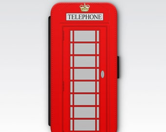 Wallet Case for iPhone 8 Plus, iPhone 8, iPhone 7 Plus, iPhone 7, iPhone 6, iPhone 6s, iPhone 5/5s - Red Public Telephone Box Case