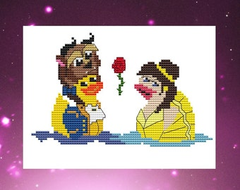 Counted Cross Stitch, Cross Stitch Pattern Chart Instant PDF Download Duck Beauty and the Beast Costume  Love NeedleCraft Design