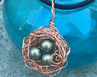 SALE**Dainty Bird Nest with Three Green Glass Pearl Eggs//Non Tarnish Copper Wire