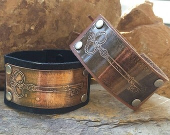 Custom Leather Cuff Bracelet with Brass Etched Antique Skeleton Key Design.