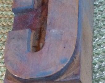 """Antique Wood Block Letterpress  2 1/2"""" Letter C"""