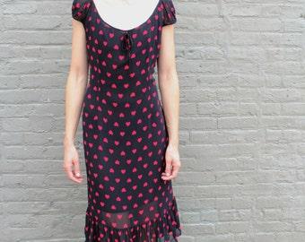 1990s Moschino Jeans Dress Heart print black red peasant mermaid hem 14