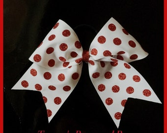 Red and white polka dot cheer bow