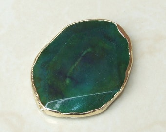 Teal Green Blue Agate Druzy Faceted Bead  - Teal Druzy Slab Bead - Druzy Agate Pendant - Gold Edge - 42mm x 54mm - 7225