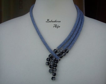 Lariat-Necklace with beads grey